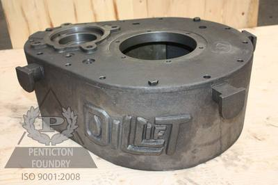 Ductile iron PC pump gear box and lid.