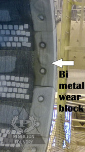 Bi-metallic trunnion liner wear block
