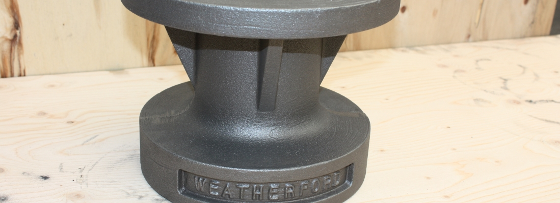 Ductile iron stuffing box made for oil well, oil and gas industry.